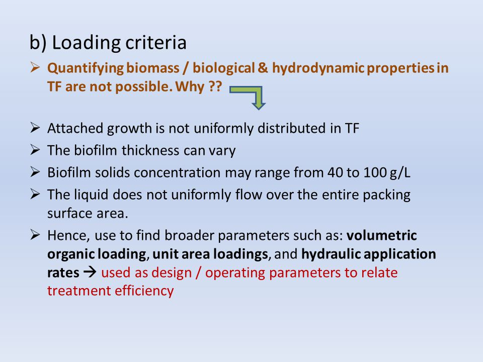 b) Loading criteria Quantifying biomass / biological & hydrodynamic properties in TF are not possible. Why