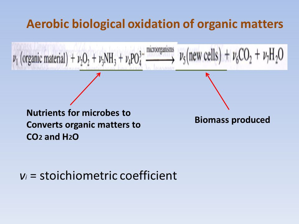 Aerobic biological oxidation of organic matters