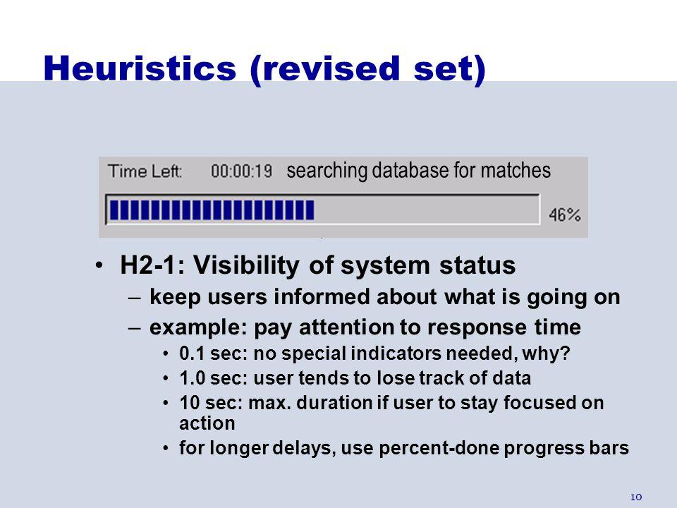 Heuristics (revised set)