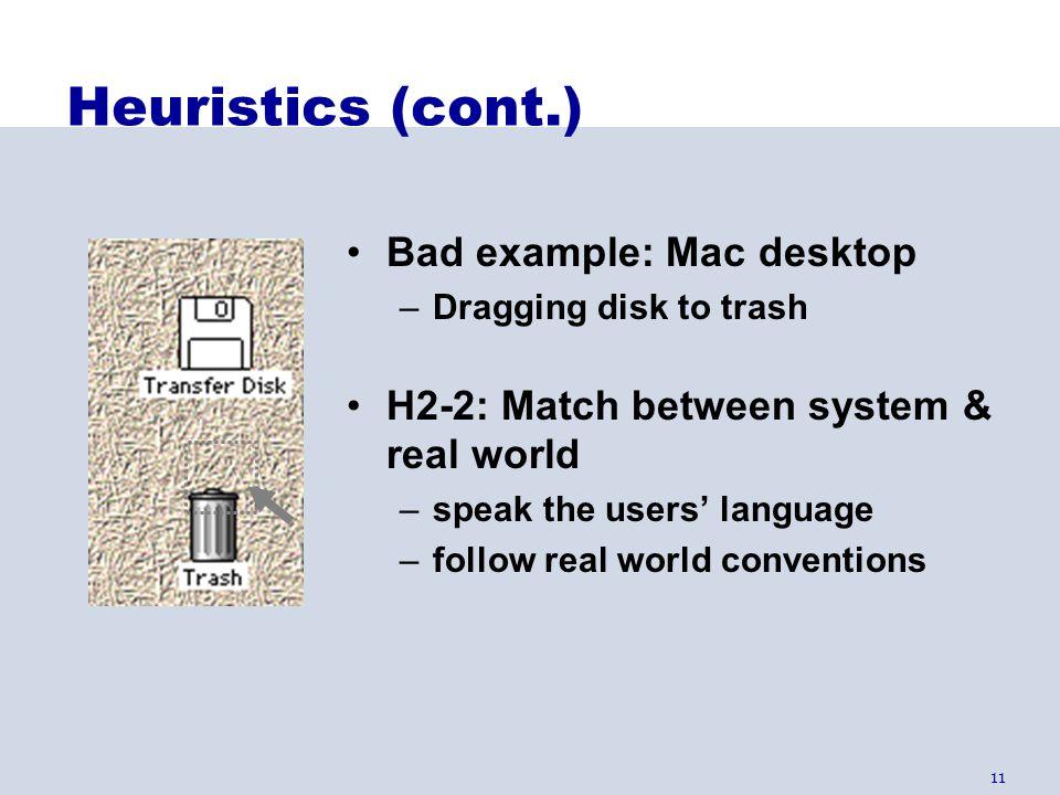 Heuristics (cont.) Bad example: Mac desktop