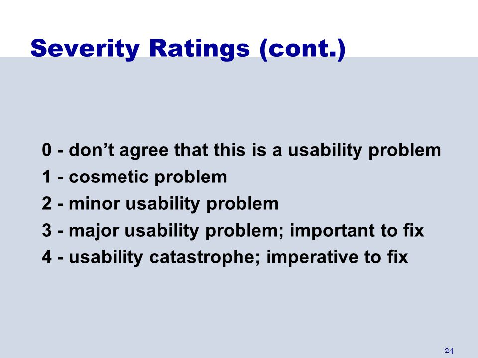 Severity Ratings (cont.)
