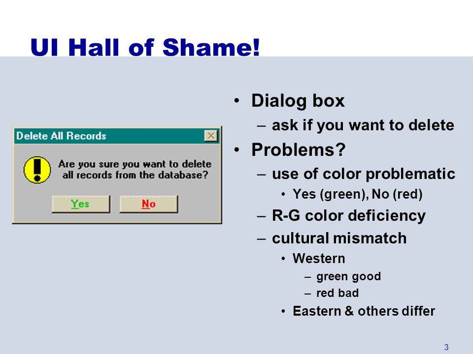UI Hall of Shame! Dialog box Problems ask if you want to delete