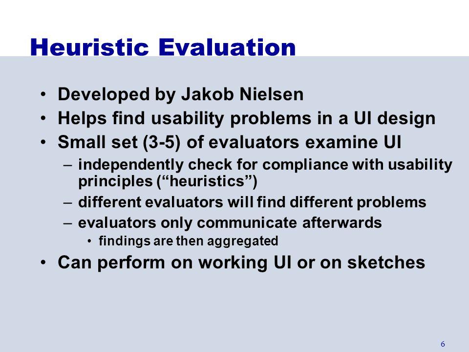 Heuristic Evaluation Developed by Jakob Nielsen
