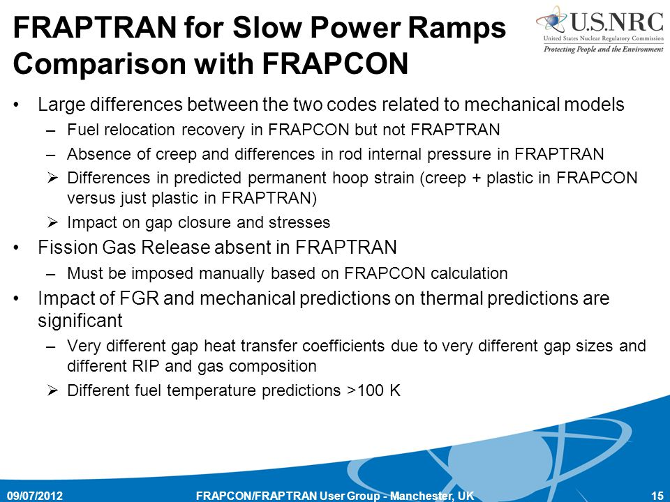 FRAPTRAN for Slow Power Ramps Comparison with FRAPCON