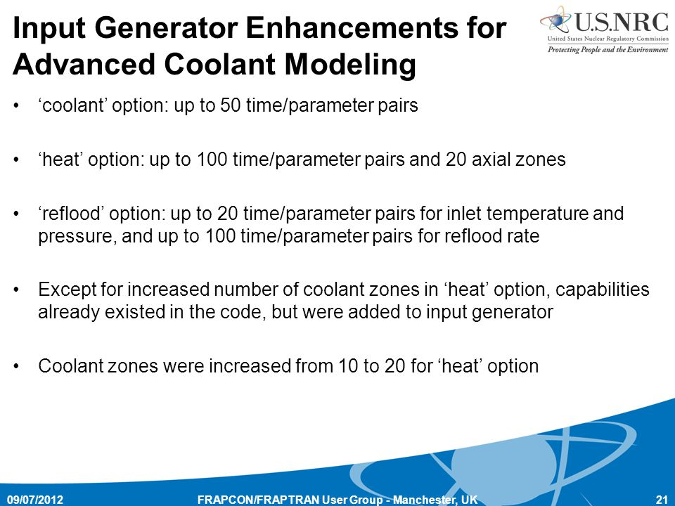 Input Generator Enhancements for Advanced Coolant Modeling