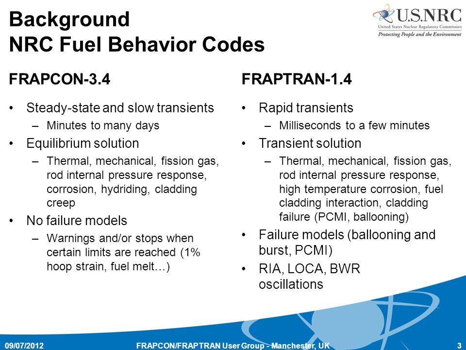 Background NRC Fuel Behavior Codes