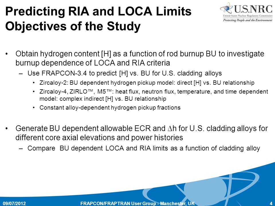Predicting RIA and LOCA Limits Objectives of the Study