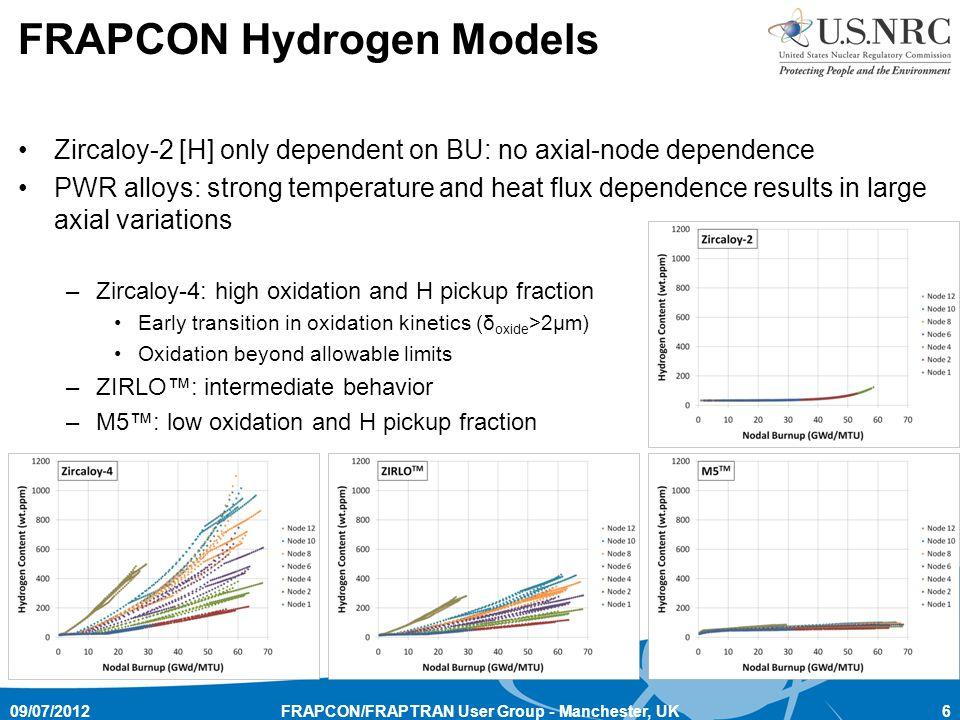 FRAPCON Hydrogen Models