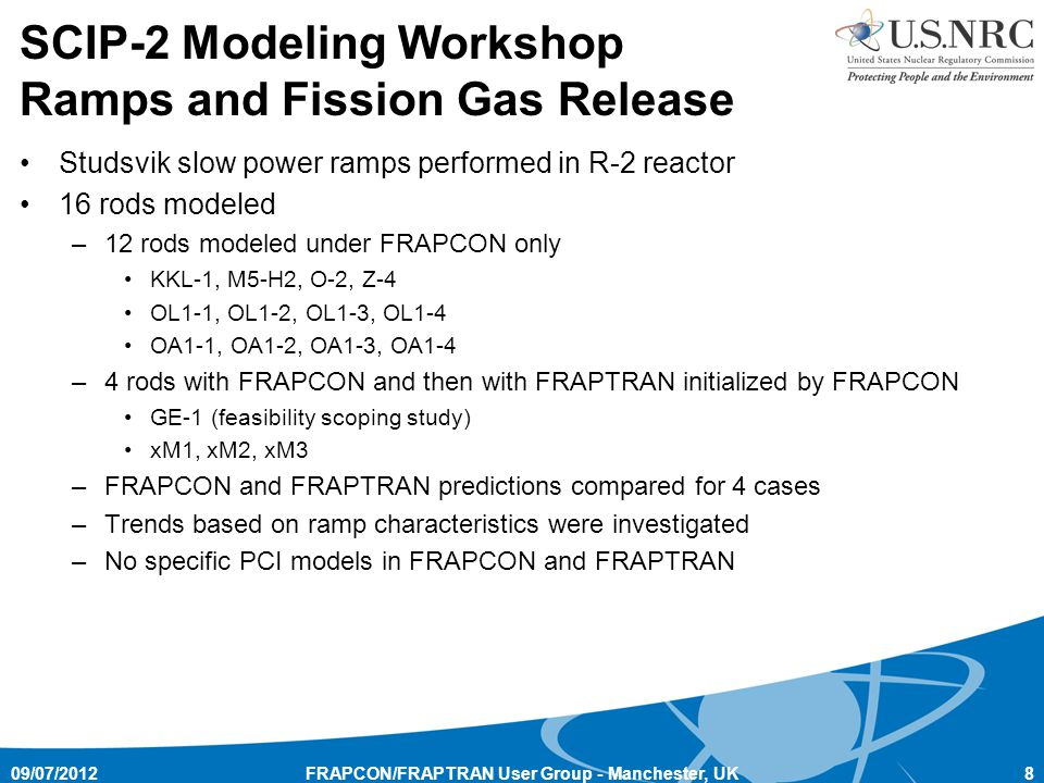 SCIP-2 Modeling Workshop Ramps and Fission Gas Release