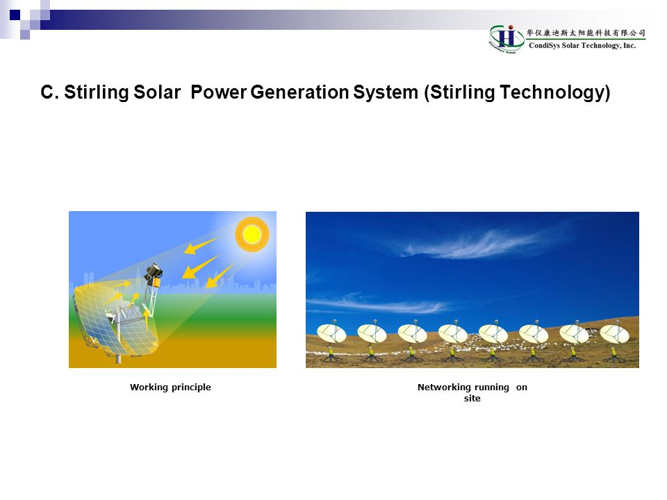 C. Stirling Solar Power Generation System (Stirling Technology)