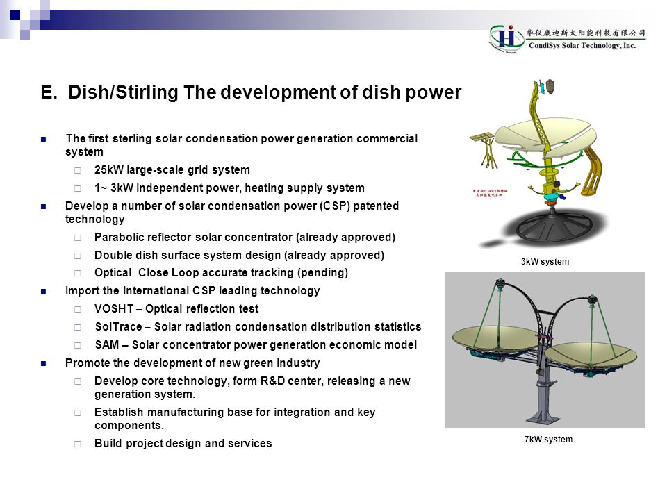 E. Dish/Stirling The development of dish power reojects in China