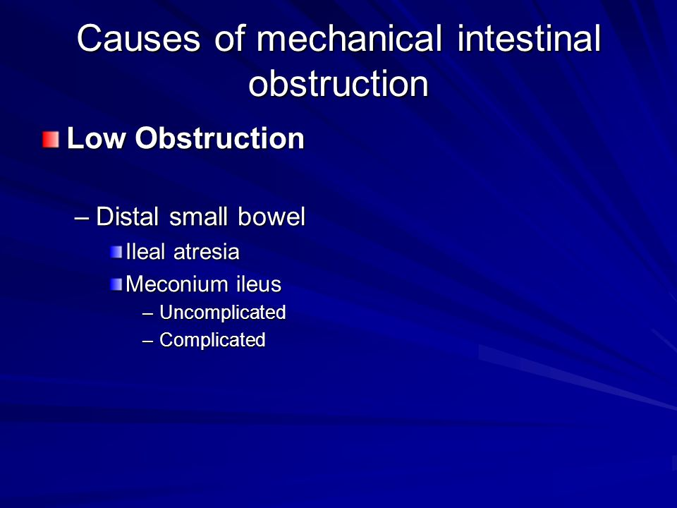 Causes of mechanical intestinal obstruction
