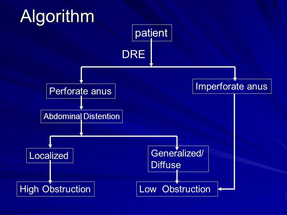 Algorithm patient DRE Imperforate anus Perforate anus Generalized/