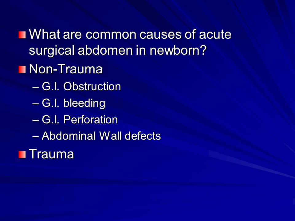 What are common causes of acute surgical abdomen in newborn