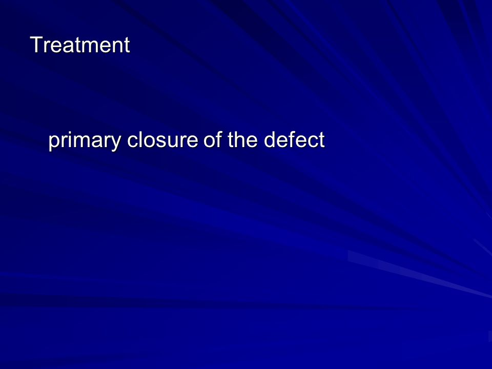 Treatment primary closure of the defect