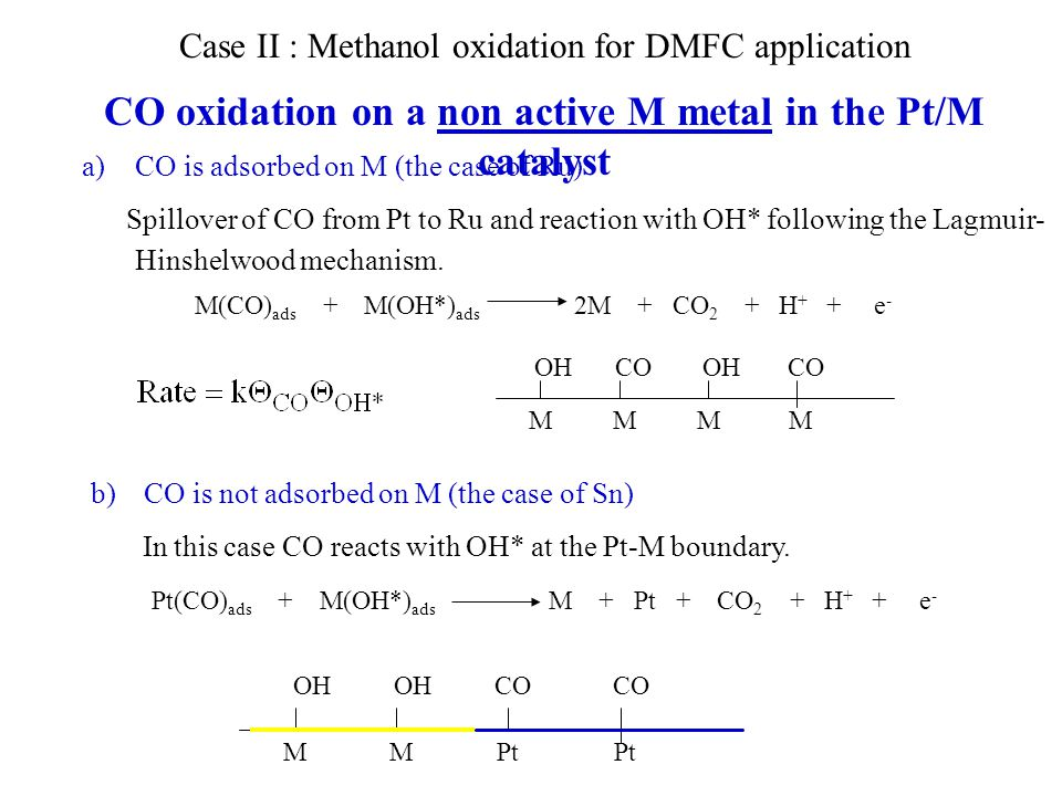 CO oxidation on a non active M metal in the Pt/M catalyst