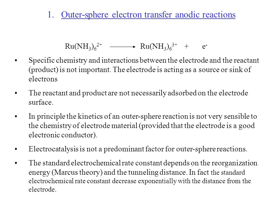 Outer-sphere electron transfer anodic reactions