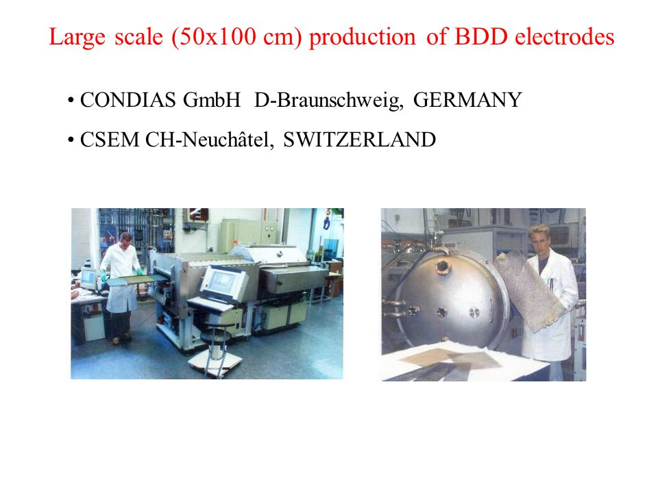 Large scale (50x100 cm) production of BDD electrodes