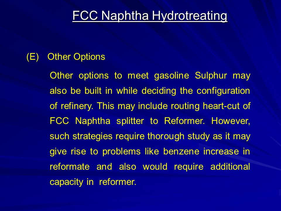 FCC Naphtha Hydrotreating