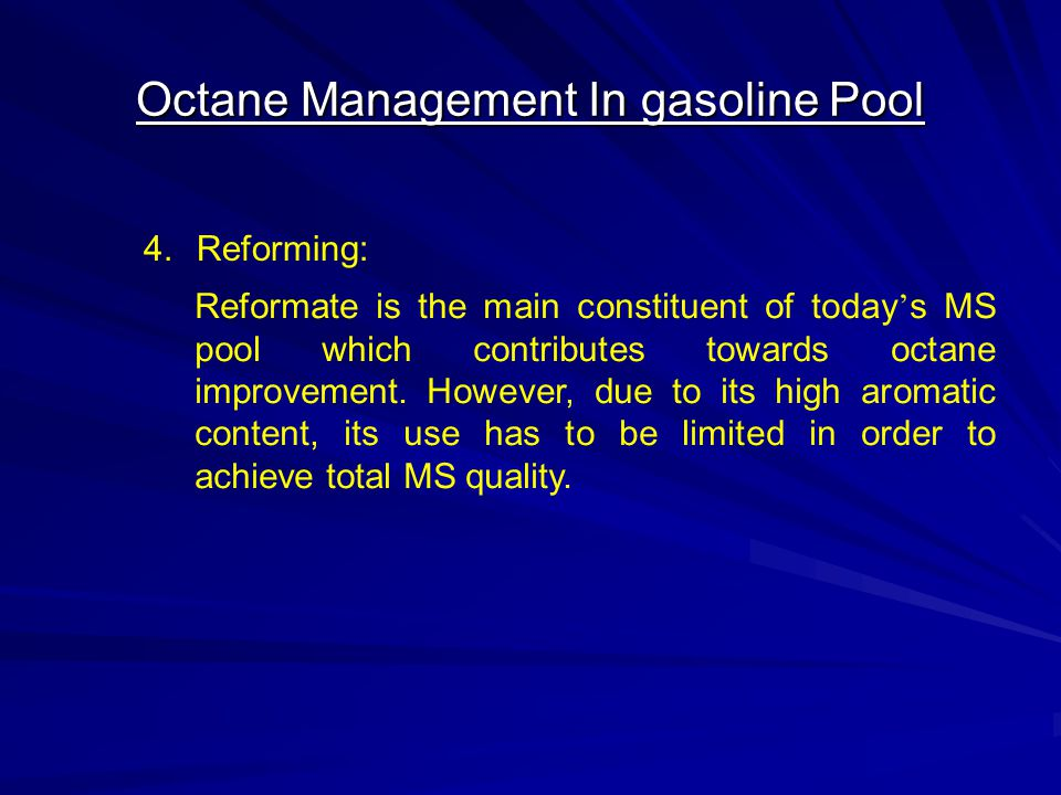 Octane Management In gasoline Pool