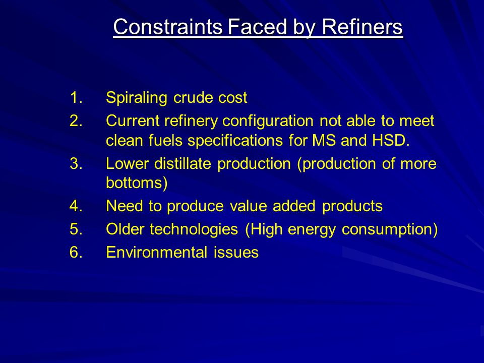 Constraints Faced by Refiners