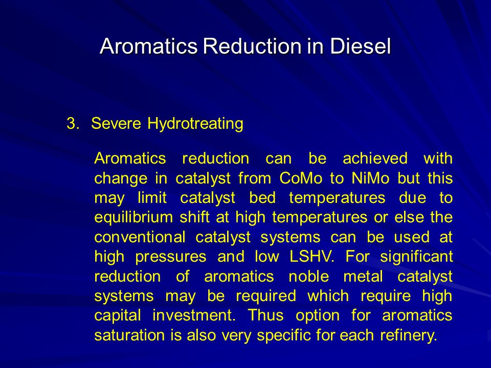 Aromatics Reduction in Diesel