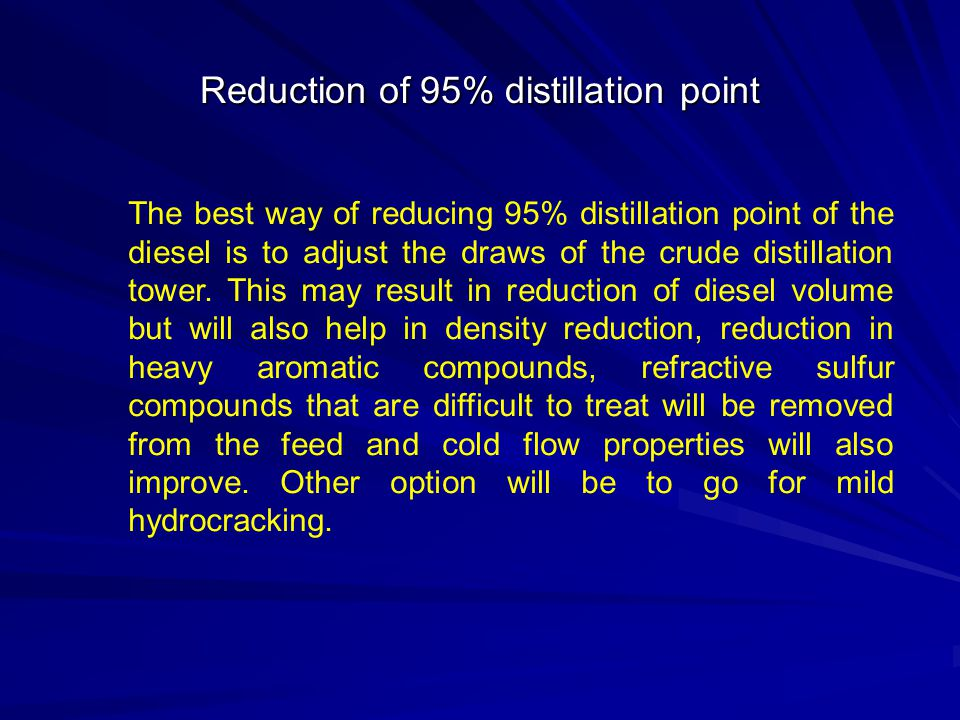 Reduction of 95% distillation point