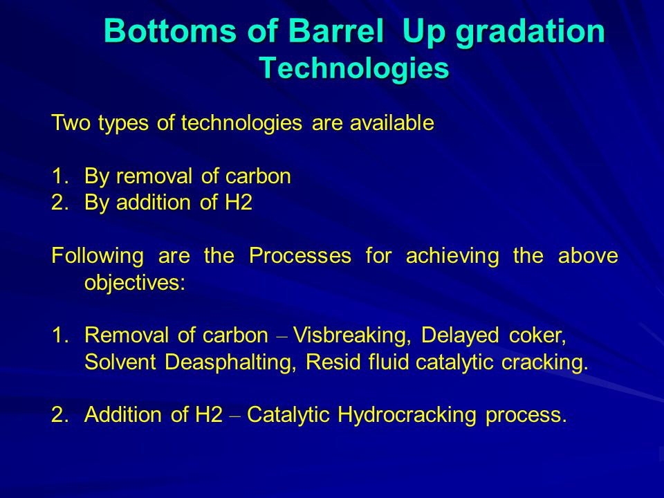 Bottoms of Barrel Up gradation Technologies