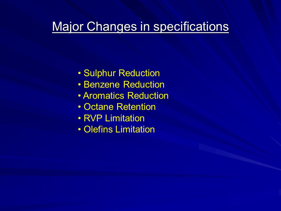 Major Changes in specifications