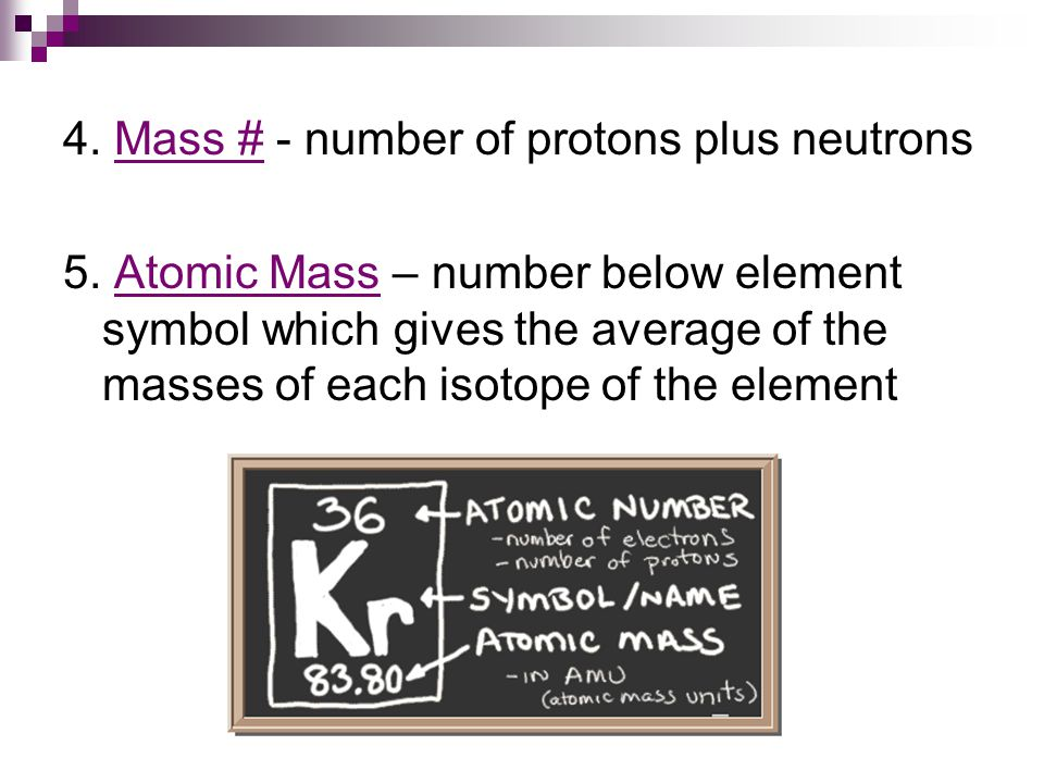 4. Mass # - number of protons plus neutrons