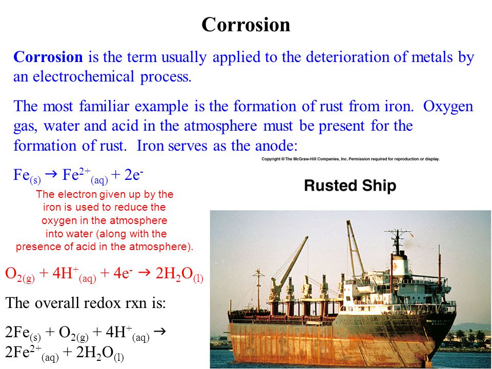 Corrosion Corrosion is the term usually applied to the deterioration of metals by an electrochemical process.
