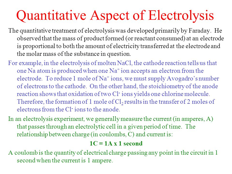 Quantitative Aspect of Electrolysis