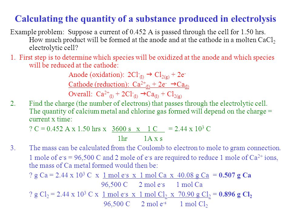 Calculating the quantity of a substance produced in electrolysis
