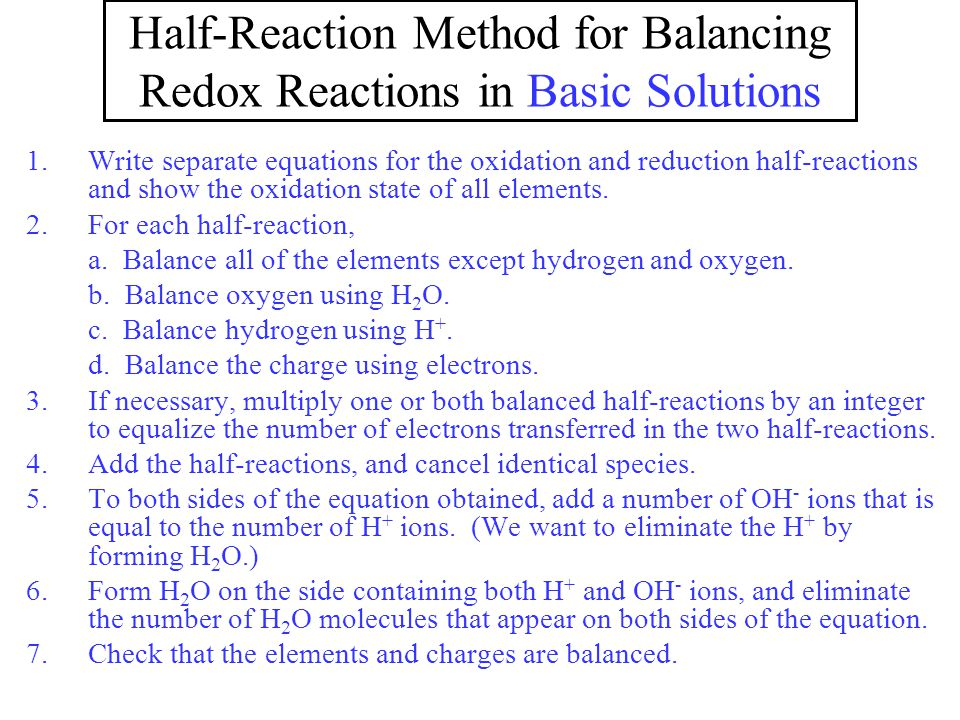 Half-Reaction Method for Balancing Redox Reactions in Basic Solutions