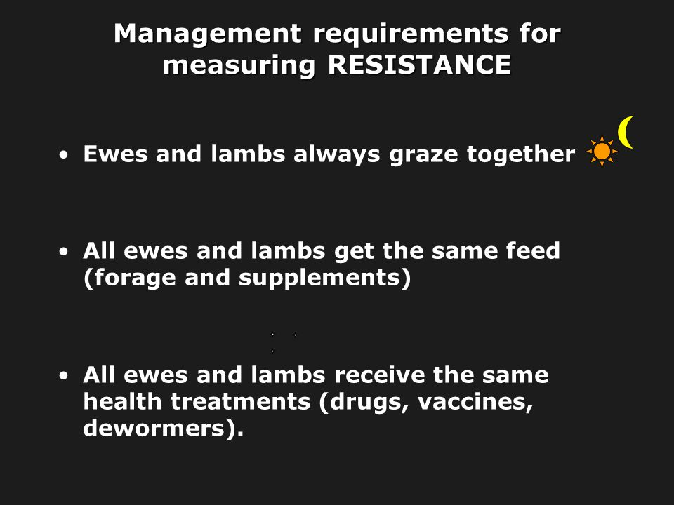 Management requirements for measuring RESISTANCE