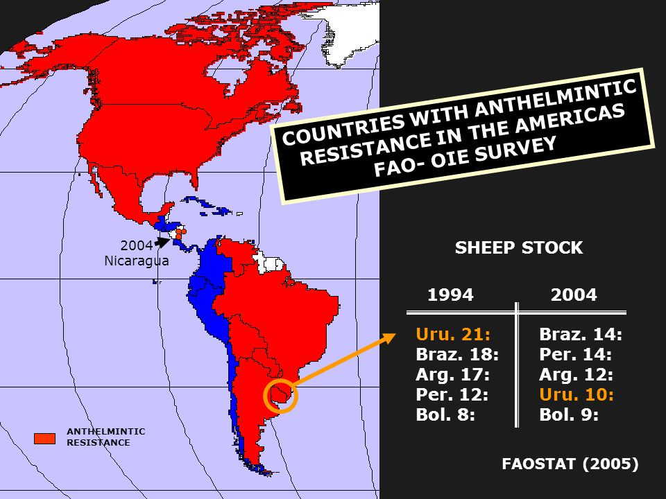 COUNTRIES WITH ANTHELMINTIC RESISTANCE IN THE AMERICAS