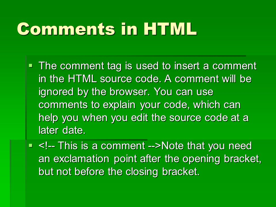 Comments in HTML