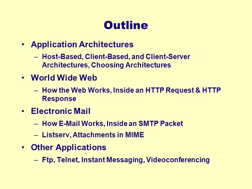 Outline Application Architectures World Wide Web Electronic Mail