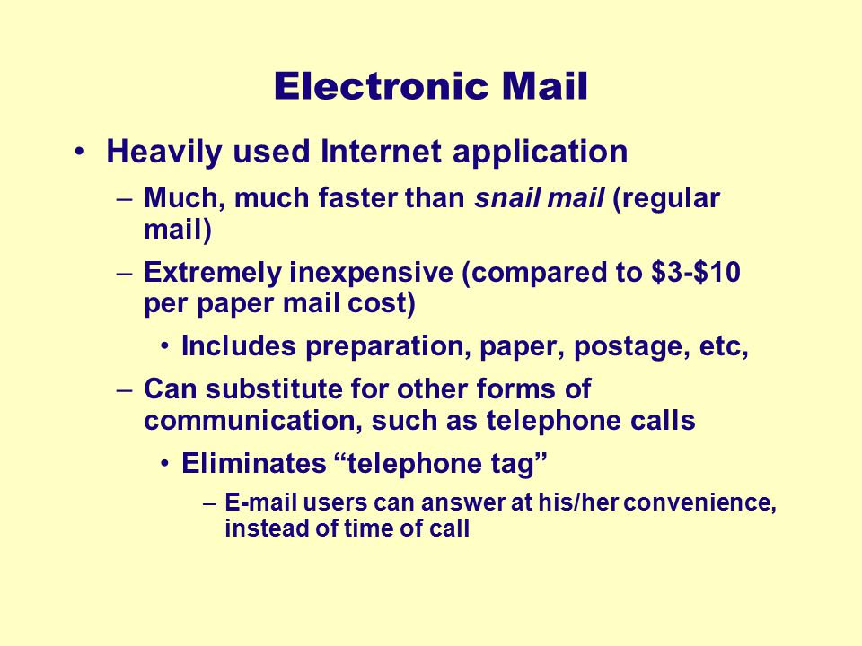 Electronic Mail Heavily used Internet application