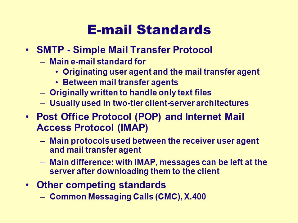 E-mail Standards SMTP - Simple Mail Transfer Protocol