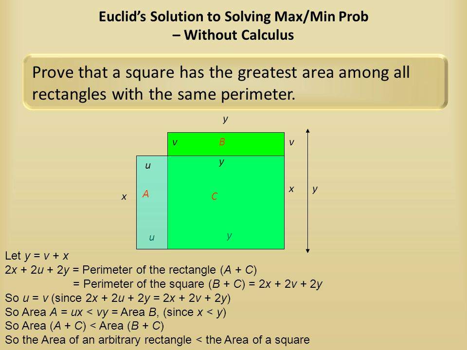 Euclid's Solution to Solving Max/Min Prob – Without Calculus