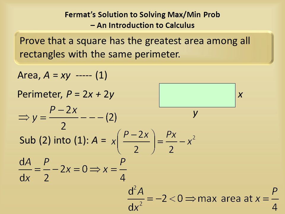 Fermat's Solution to Solving Max/Min Prob – An Introduction to Calculus