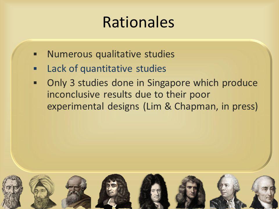 Rationales Numerous qualitative studies Lack of quantitative studies