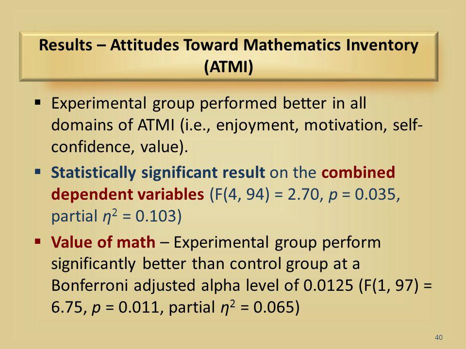 Results – Attitudes Toward Mathematics Inventory (ATMI)