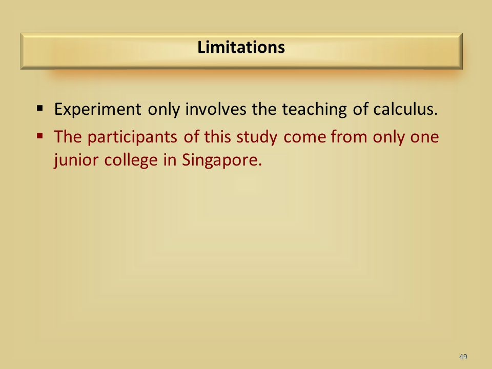 Experiment only involves the teaching of calculus.