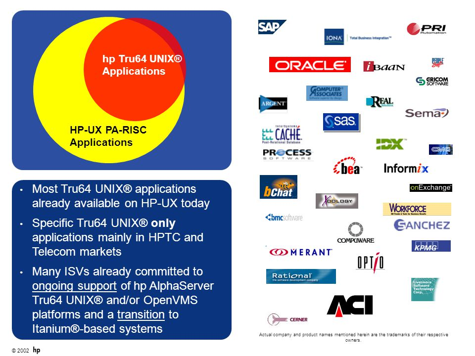 Most Tru64 UNIX® applications already available on HP-UX today