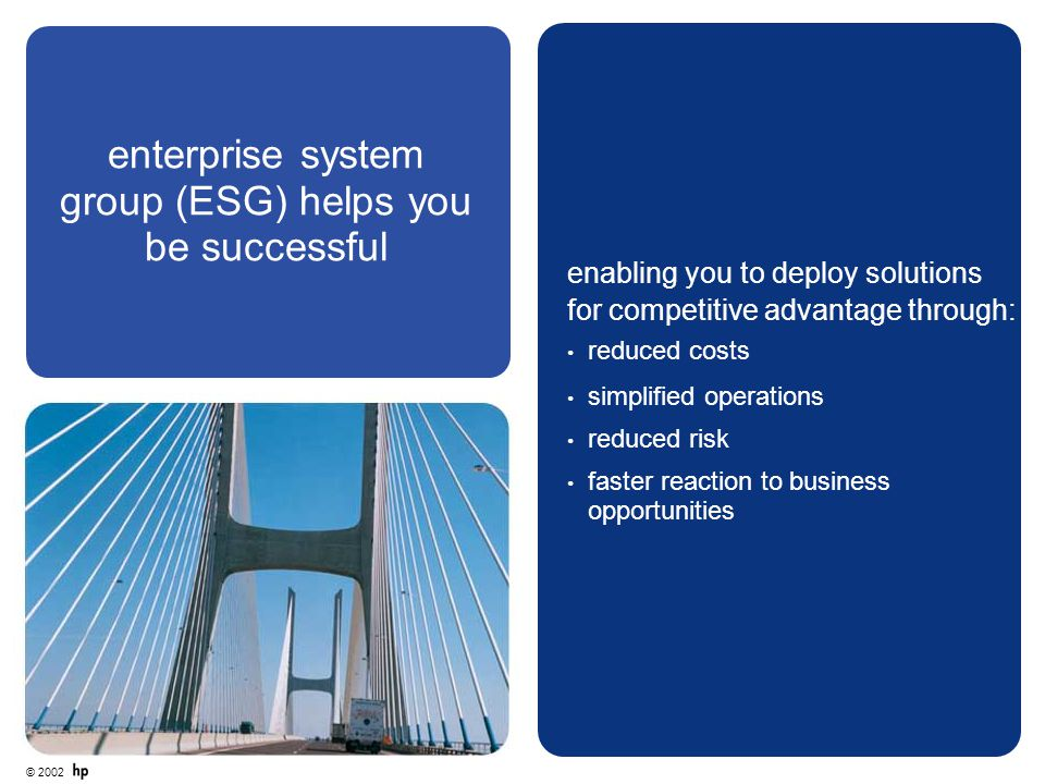 enterprise system group (ESG) helps you be successful