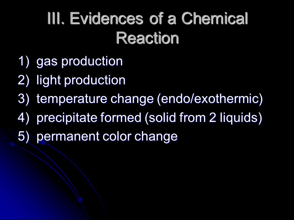 III. Evidences of a Chemical Reaction