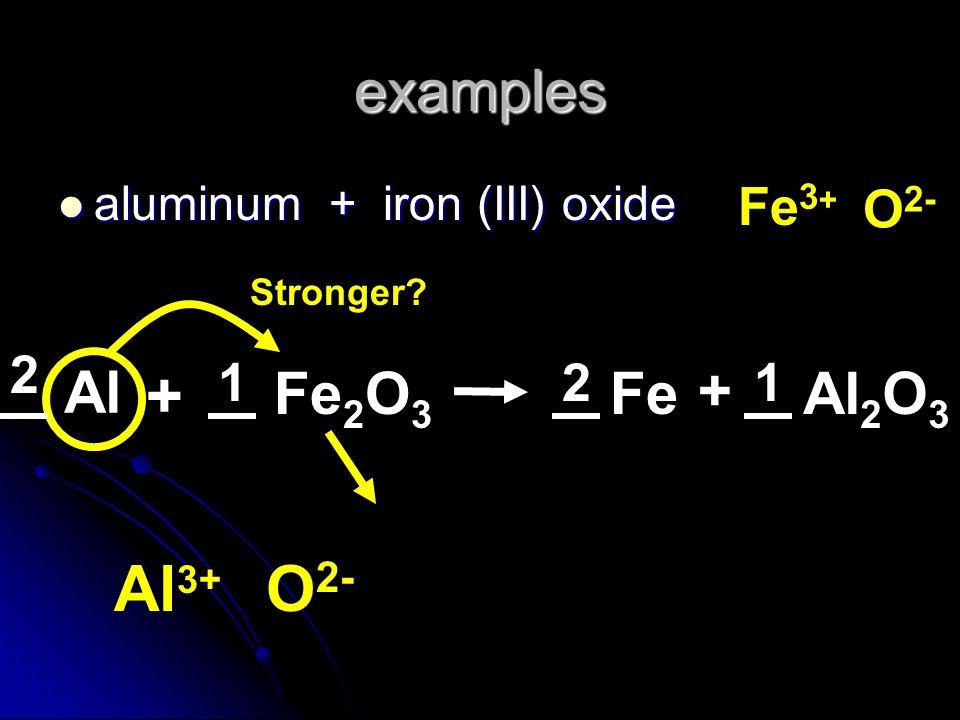 + Al3+ O2- examples + Al Fe2O3 Fe Al2O3 Fe3+ O2- 2 1 2 1