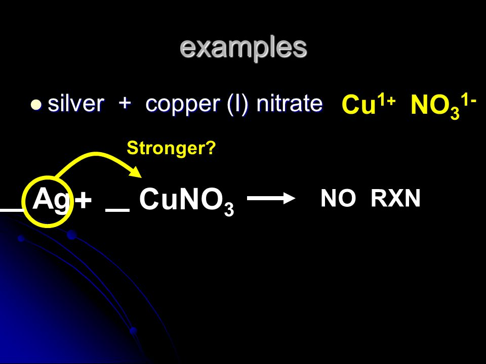+ examples Ag CuNO3 Cu1+ NO31- silver + copper (I) nitrate NO RXN